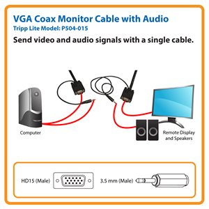 Send VGA Video and Stereo Audio Signals Up to 15 ft. from the Source (HD15 and 3.5 mm M/M)