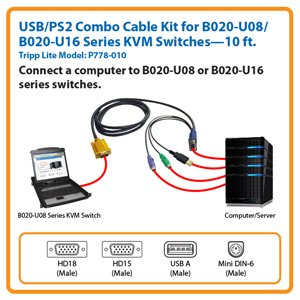 10-ft. USB/PS2 Combo Cable for Tripp Lite's B020-U08/U16 Series KVM Switches