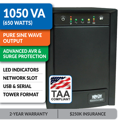 SMART1050SLTAA Smart Line-Interactive 1050VA Tower Sine Wave UPS with Network Slot, TAA-Compliant