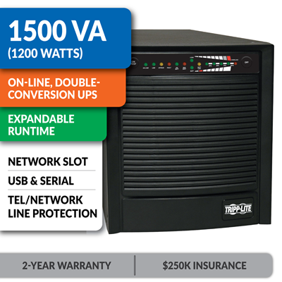 SU1500XL SmartOnline® Double-Conversion Sine Wave Tower UPS with Expandable Runtime and Network Slot