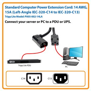 2-ft., Heavy-Duty 14 AWG, 15A Power Cord (C13 to Left-Angle C14)