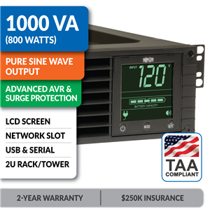 SMART1000RM2U SmartPro® Line-Interactive Rack/Tower Sine Wave UPS with Network Slot and LCD