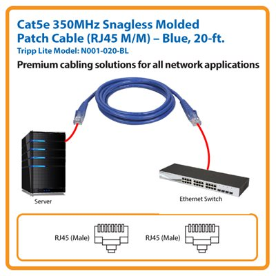 20-ft. Cat5e 350MHz Snagless Molded Patch Cable (Blue)