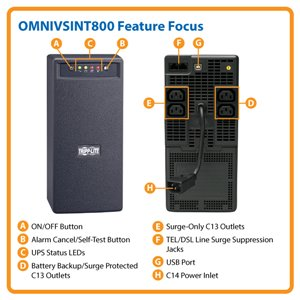 800VA/475W Power Protection for Home or Office PCs and Peripherals in 230V Regions