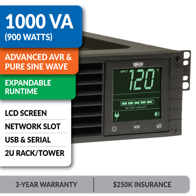SMART1000RMXL2U SmartPro® Line-Interactive Rack/Tower Sine Wave UPS with Expandable Runtime, Network Slot and LCD