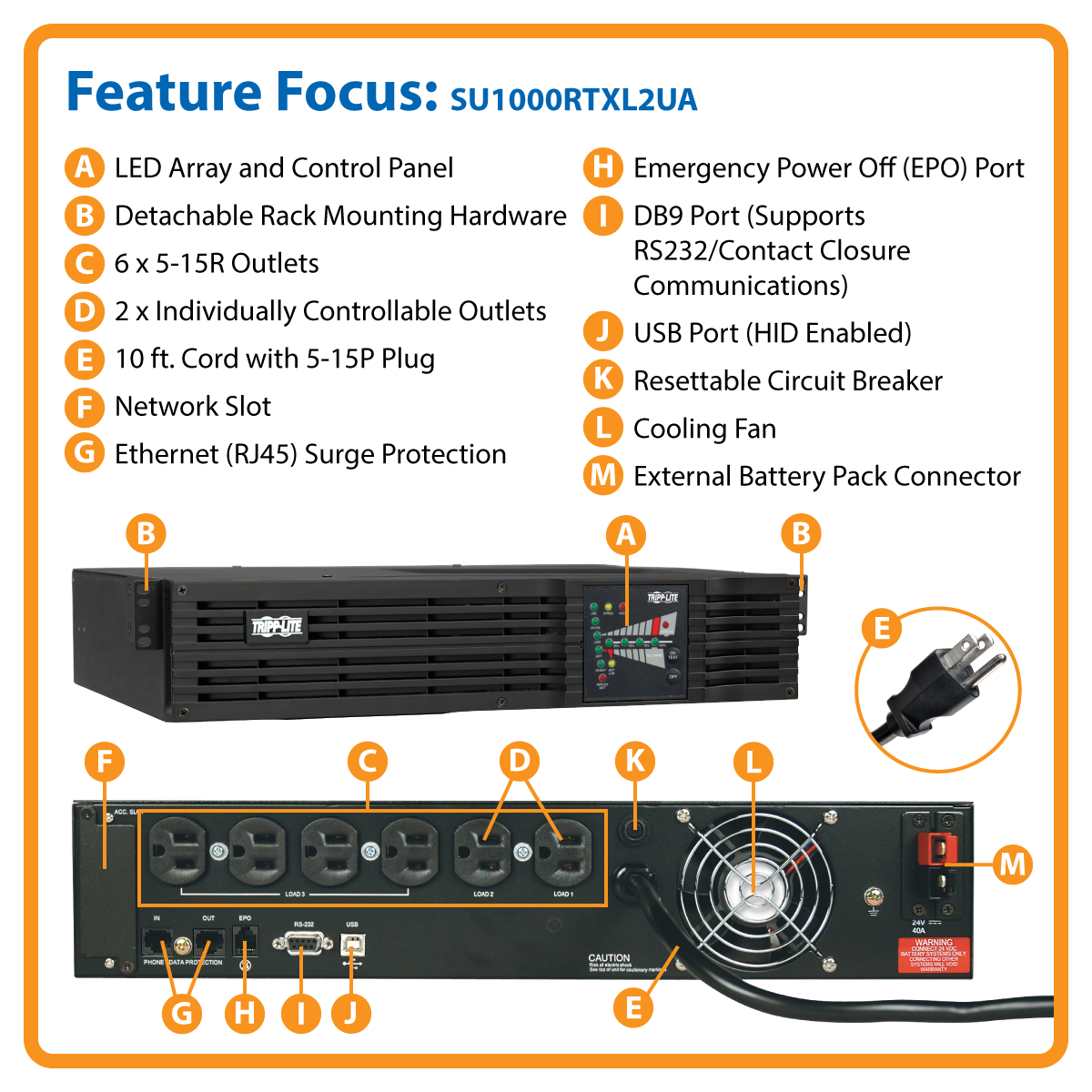slide 1 of 5,show larger image, su1000rtxl2ua smartonline® double-conversion rack/tower ups sine wave ups with expandable runtime and network slot