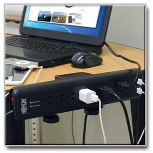 6 Outlet Surge Suppressor with 2.1 Amp Total USB Charging Ports & Adjustable Mounting Clamps