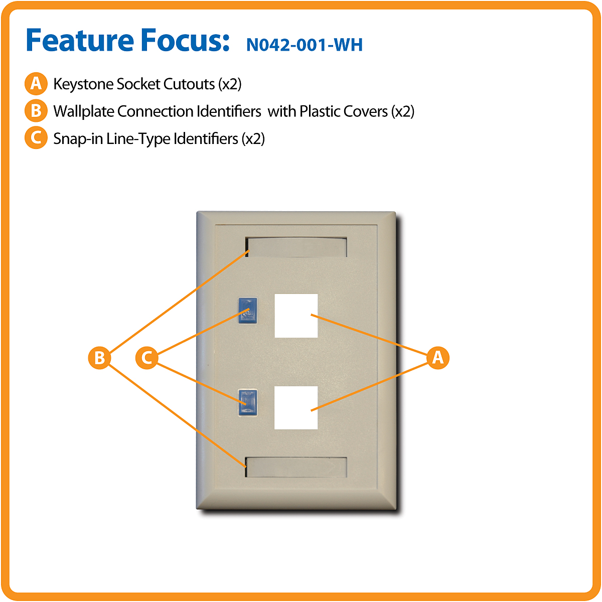 Tripp Lite 2 Port Dual Outlet Rj45 Universal Keystone Jack Face Scsi To Wiring Diagram Product Image