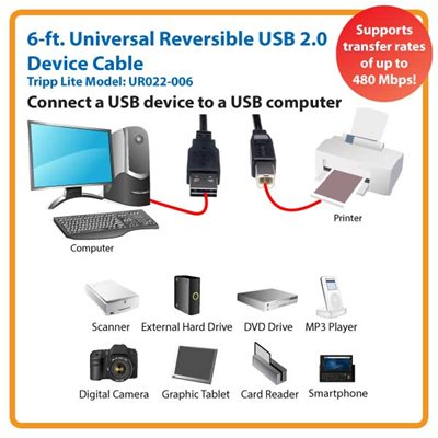 6ft. Universal Reversible USB 2.0 Hi-Speed Device Cable