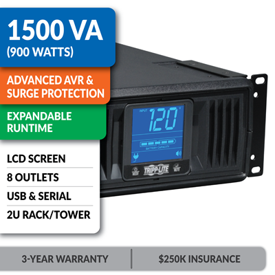SMART1500LCDXL SmartPro® LCD 120V 1500VA 900W Line-Interactive UPS, AVR, Extended Runtime, 2U Rack/Tower, LCD, USB, DB9, 8 Outlets