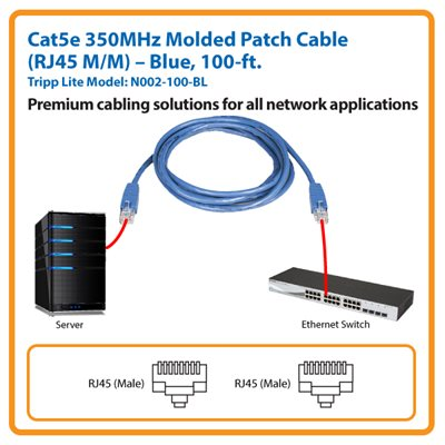 100-ft. Cat5e 350MHz Molded Patch Cable (Blue)