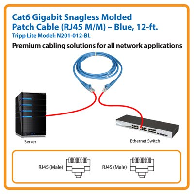 12-ft. Cat6 Gigabit Snagless Molded Patch Cable (Blue)