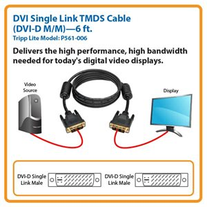 Connect High-Resolution DVI Displays to Your Desktop Computer Up to 6 ft. Away (DVI-D M/M)