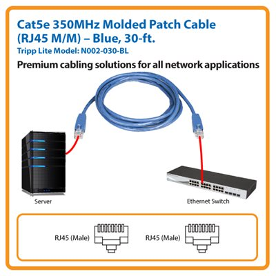 30-ft. Cat5e 350MHz Molded Patch Cable (Blue)