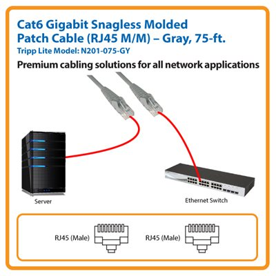 75-ft. Cat6 Gigabit Snagless Molded Patch Cable (Gray)