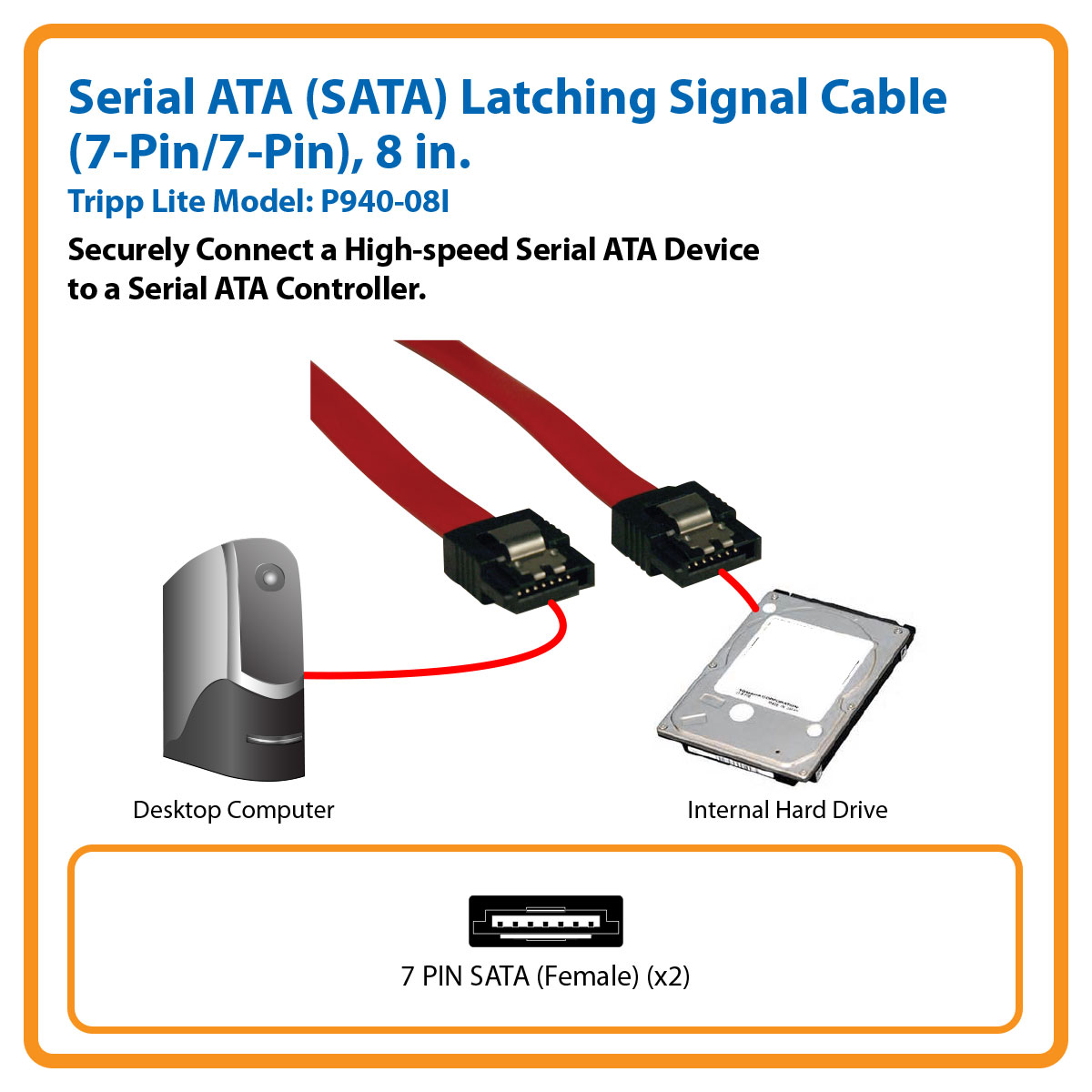 Tripp Lite 8 Inch Serial Ata Sata Signal Cable 7pin Male And Power Molex Adapter One Combo To Connect P940 08i Parallel Cables