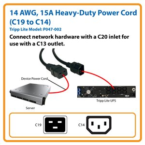 2 ft., Heavy-Duty Extension Power Cord for Network Hardware (C19 to C14)