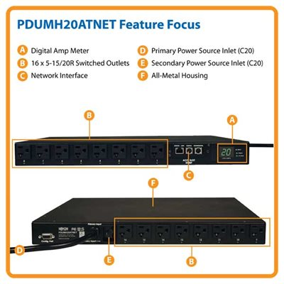 PDU Switched ATS 120V 20A 5-15/20R 16 Outlet L5-20P Horizontal
