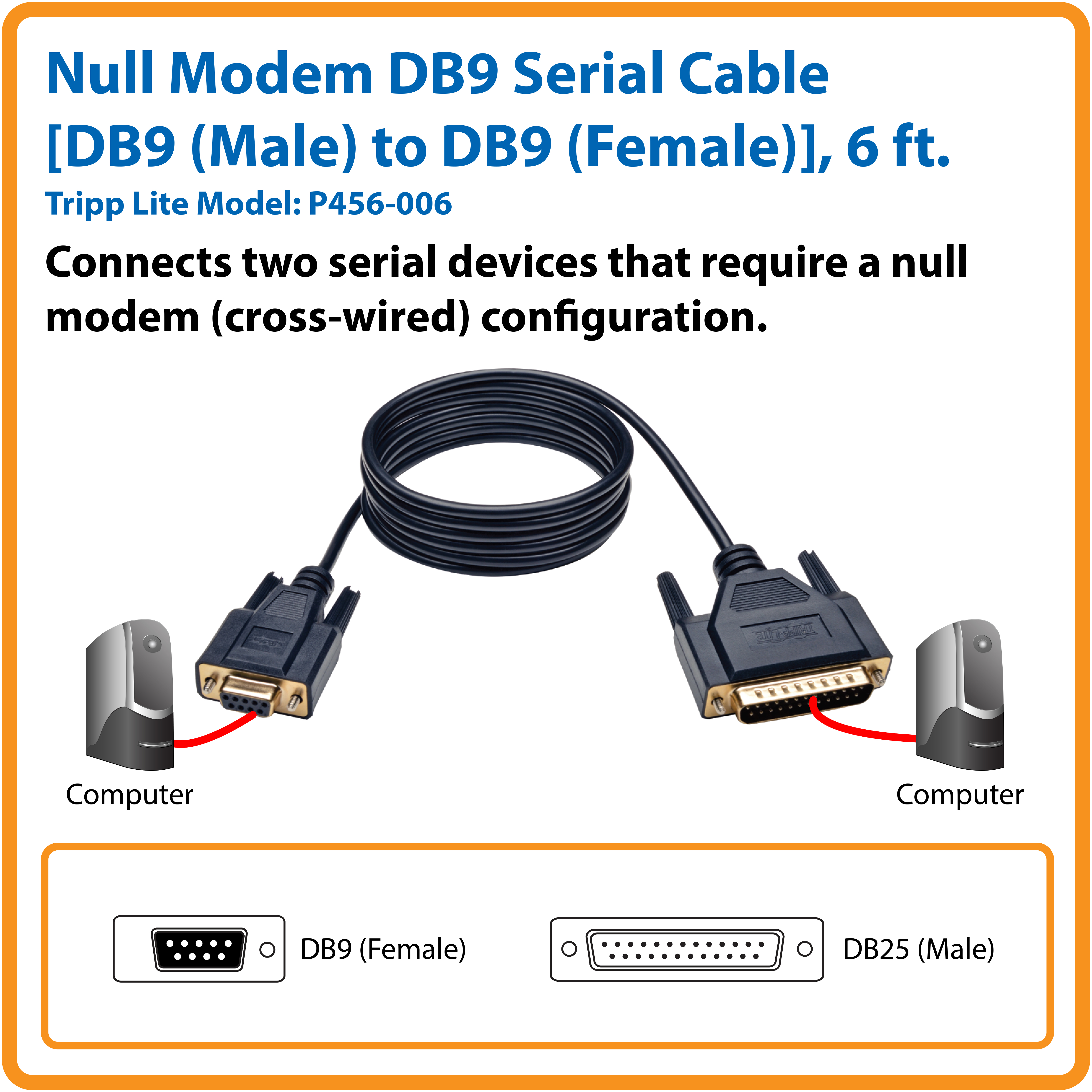 Tripp Lite 6ft Null Modem Serial RS232 Cable Adapter DB9 to BD25 FM 6 by  Office Depot & OfficeMax