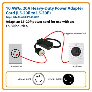 Product tripp lite 2ft power cord extension cable l5 30p to l5 power adapter with 20a breaker converts an l5 20p plug for publicscrutiny Image collections