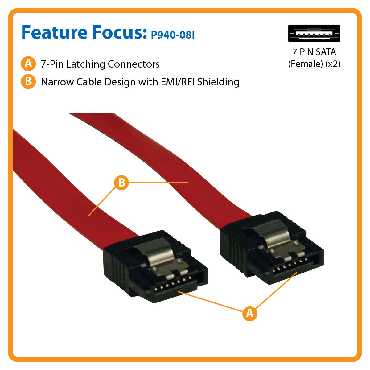 Tripp Lite 8 Inch Serial Ata Sata Signal Cable 7pin Male And Power Molex Adapter One Combo To Connect Securely A High Speed Device Controller