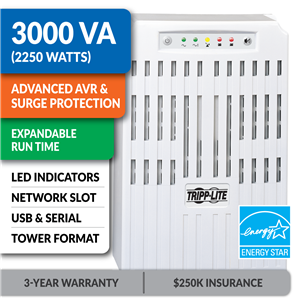 SMART3000VS SmartPro® Line-Interactive Tower UPS with Expandable Runtime and Network Card Slot