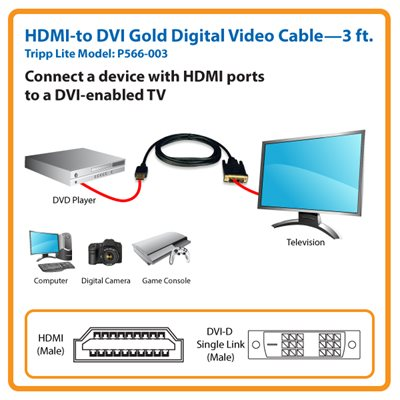 3-ft. HDMI-to-DVI Gold Digital Video Cable the Smart Solution for Home Theater and A/V Applications