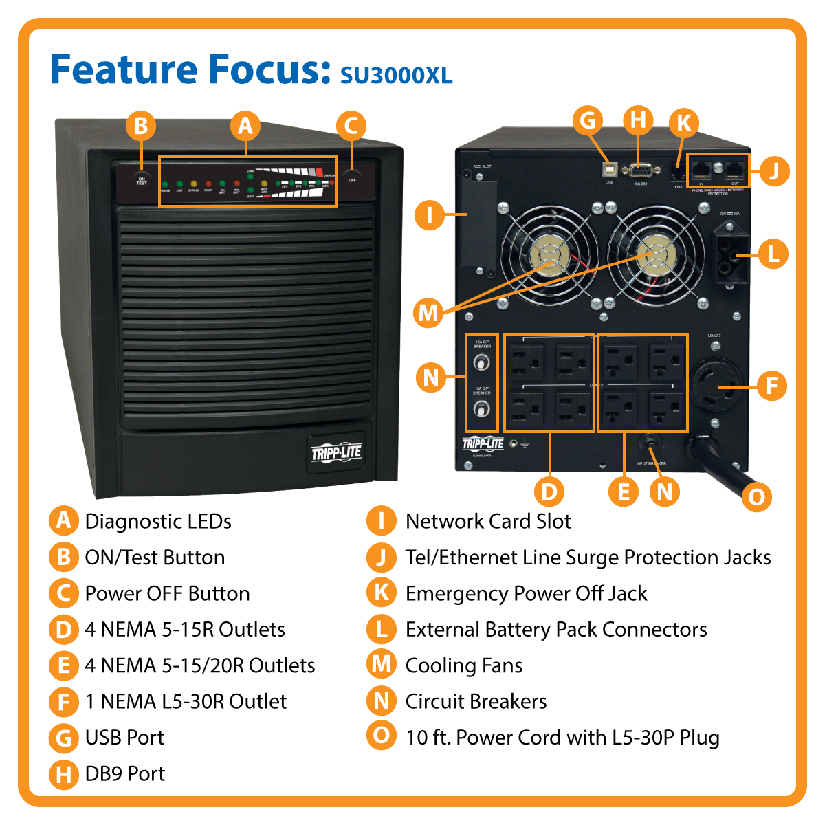 slide 1 of 6,show larger image, su3000xl smartonline® double-conversion sine wave tower ups with expandable runtime and network slot