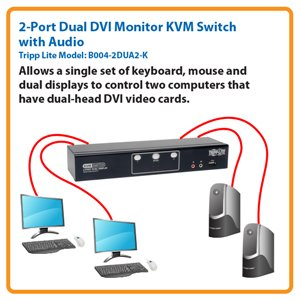 2-Port Dual Monitor DVI KVM Switch with Audio and USB 2.0 Hub