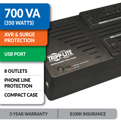 AVR700U Ultra-Compact Line-Interactive UPS with USB Port