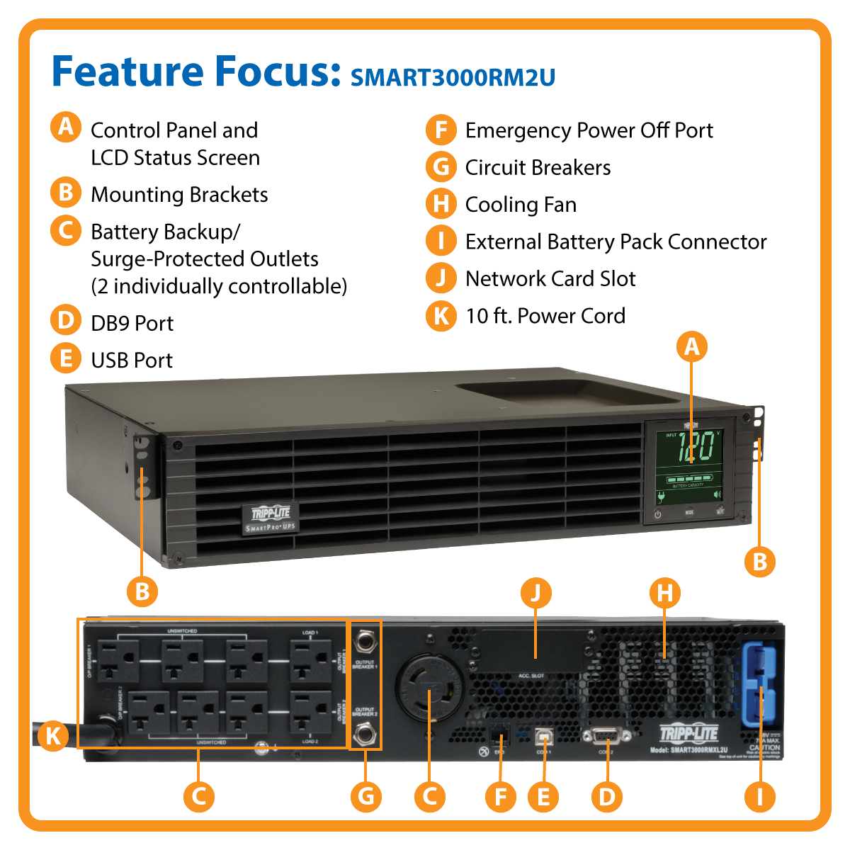 slide 1 of 8,show larger image, smart3000rm2u smartpro® line-interactive rack/tower sine wave ups with expandable runtime, network slot and lcd