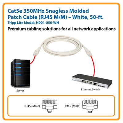50-ft. Cat5e 350MHz Snagless Molded Patch Cable (White)