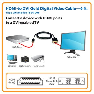 High Quality 6 ft. HDMI to DVI Gold Digital Video Cable with Lifetime Warranty