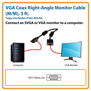 Connects Your Computer to an SVGA/VGA Monitor at a Right Angle