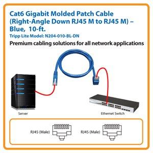 10-ft. Cat6 Gigabit Molded Patch Cable, Right-Angle Down RJ45 M to RJ45 M (Blue)