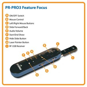 Wireless Presentation Remote w/ Laser Pointer & 100 ft. Range