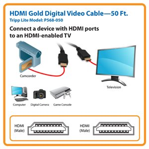 High Quality 50 ft. HDMI Gold Digital Video Cable with Lifetime Warranty