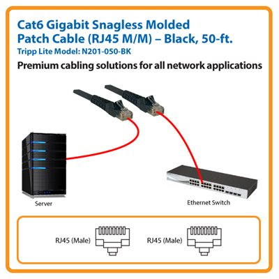50-ft. Cat6 Gigabit Snagless Molded Patch Cable (Black)