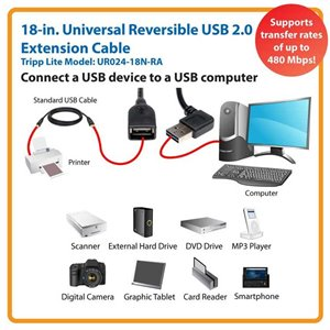18-in. Universal Reversible USB 2.0 Hi-Speed Extension Cable