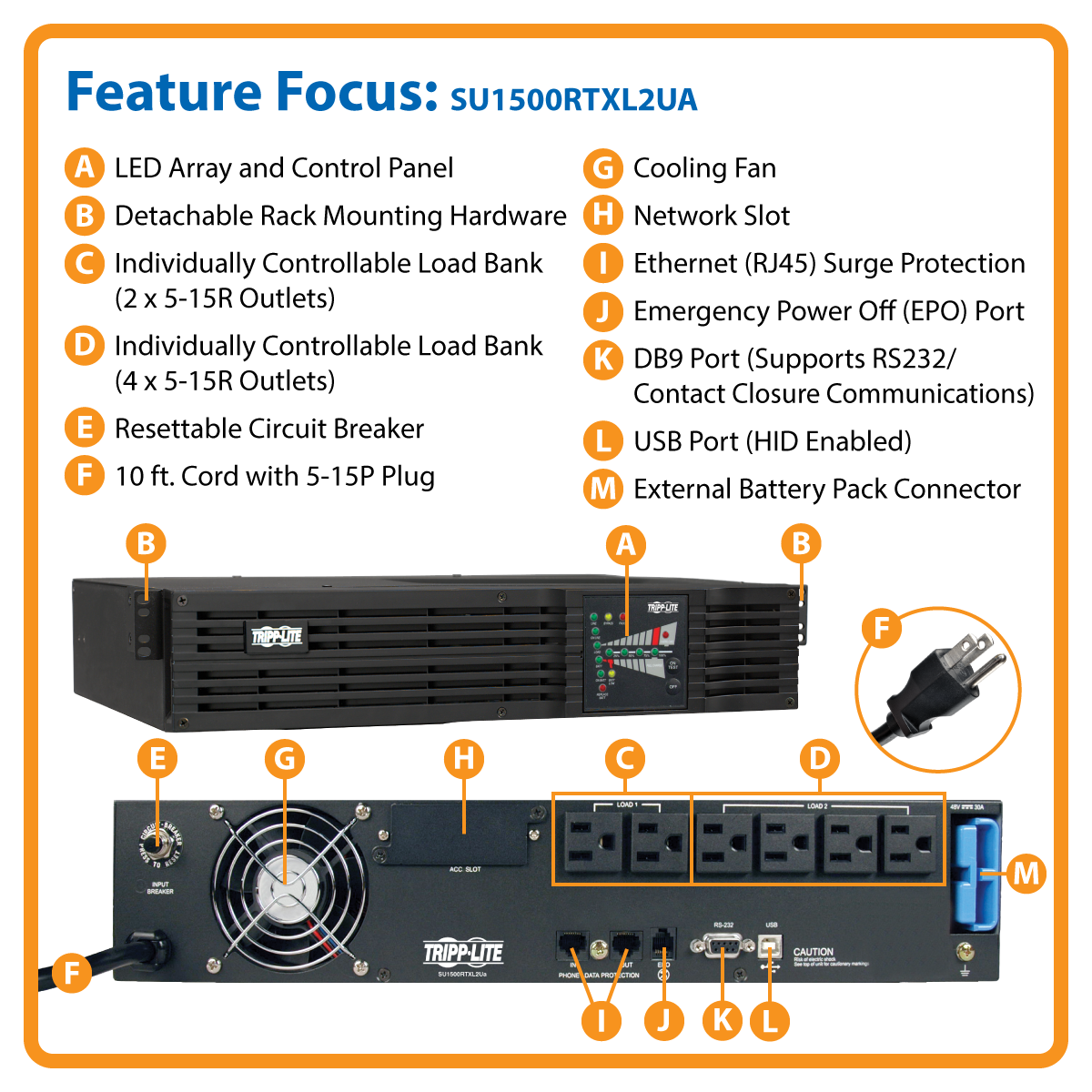 slide 1 of 5,show larger image, su1500rtxl2ua smartonline® double-conversion rack/tower sine wave ups with expandable runtime and network slot