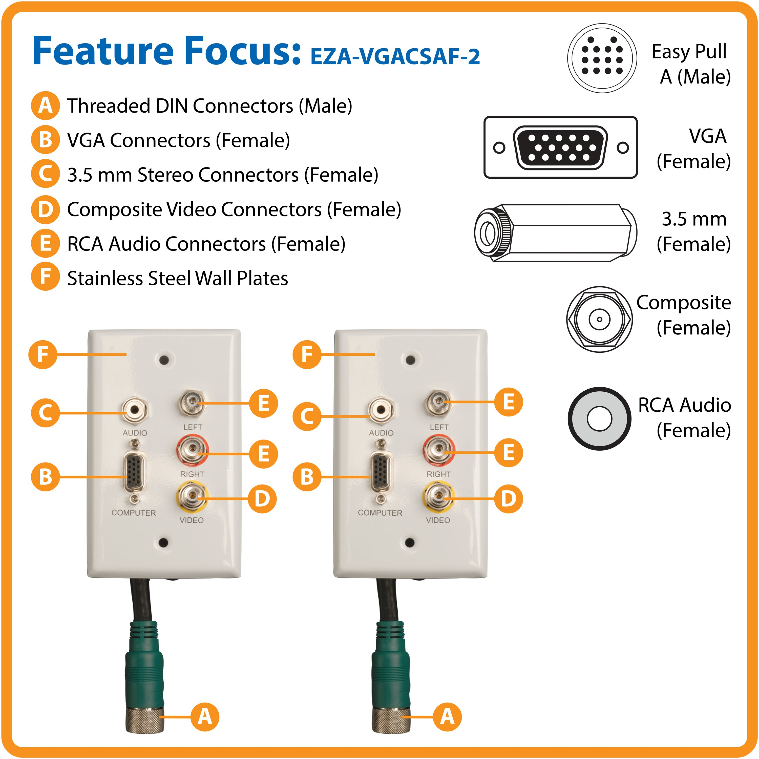 Tripp Lite Easy Pull Type A Vga Connector Kit Wall Plate Rca Audio Video Connectors Complete Long Cable Runs Through Small Spaces Where Standard Size Cant Fit