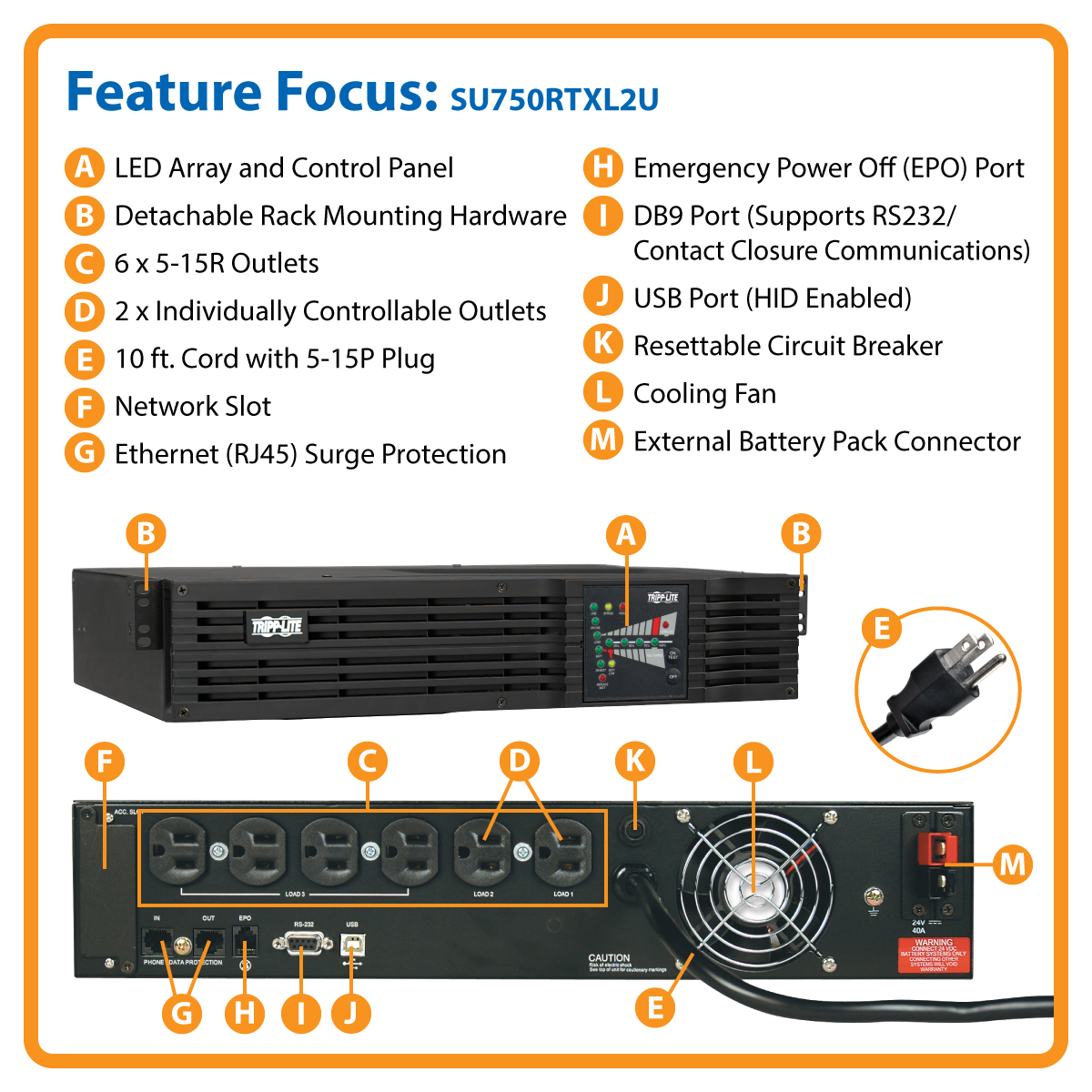 slide 1 of 5,show larger image, su750rtxl2u smartonline® double-conversion rack/tower sine wave ups with expandable runtime and network slot