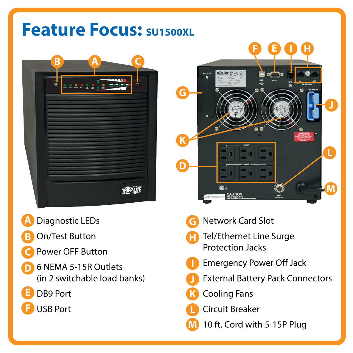 slide 1 of 6,show larger image, su1500xl smartonline® double-conversion sine wave tower ups with expandable runtime and network slot