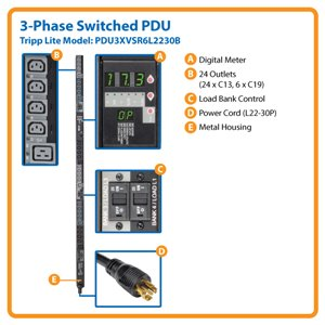 Effective 3-Phase Power Distribution with a Digital Meter and Remote Control of 30 Outlets