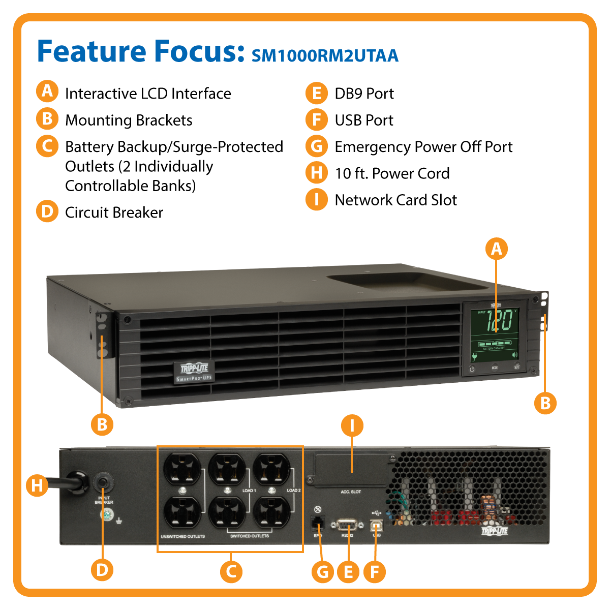 slide 1 of 8,show larger image, smart1000rm2u smartpro® line-interactive rack/tower sine wave ups with network slot and lcd