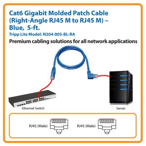 5-ft. Cat6 Gigabit Molded Patch Cable, Right-Angle RJ45 M to RJ45 M (Blue)