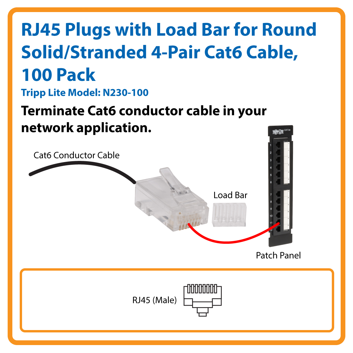Tripp Lite Cat6 Gigabit Rj45 Modular Connector Plug W Load Bar 100 Wiring Diagram On Hi Power Lightning Protector Jacks Plugs With Bars For Round Solid Stranded 4 Pair Cable