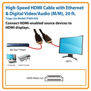 High-Speed HDMI Cable with Ethernet and Digital Video with Audio (M/M), 20 ft.