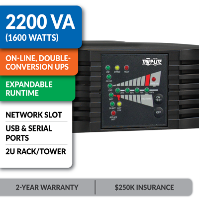 SU2200RTXL2UA SmartOnline® Double-Conversion Rack/Tower Pure Sine Wave UPS with Expandable Runtime and Network Slot