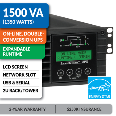 SU1500RTXLCD2U SmartOnline® 1500VA Double-Conversion Rack/Tower Sine Wave UPS with Expandable Runtime, Network Slot and LCD